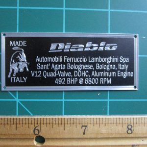 Lamborghini Diablo Metal Display Plaque